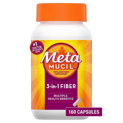 Metamucil Fiber 3-in-1 Psyllium Capsule Fiber Supplement - 160ct