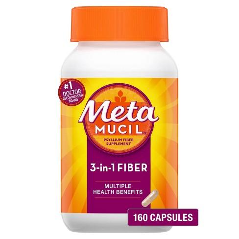 Metamucil Fiber 3-in-1 Psyllium Capsule Fiber Supplement - 160ct - image 1 of 4