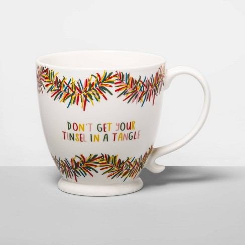16oz Stoneware Don't Get Your Tinsel in a Tangle Coffee Mug Cream - Opalhouse™ - image 1 of 1