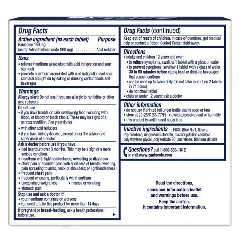 Zantac Coolmint Heartburn Tablets - 150mg -40ct