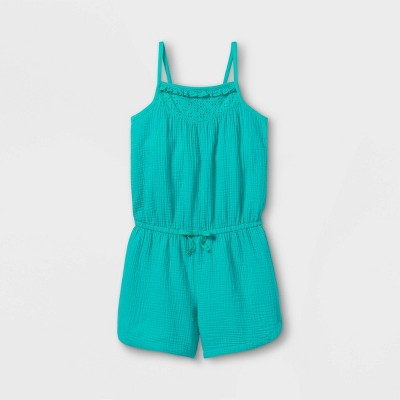 Girls' Eyelet Sleeveless Romper - Cat & Jack™ Turquoise