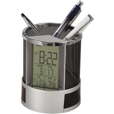 Howard Miller Desk Mate LCD Alarm Clock 645-759 - Round Pencil Cup with Storage Compartments