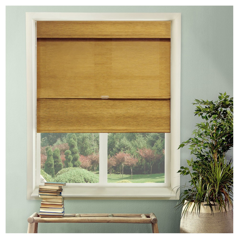 "Image of ""31""""x64"""" Cordless Magnetic Roman Shades Jamaican Antique Gold - Chicology"""