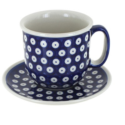 Blue Rose Polish Pottery Dots Coffee Cup & Saucer