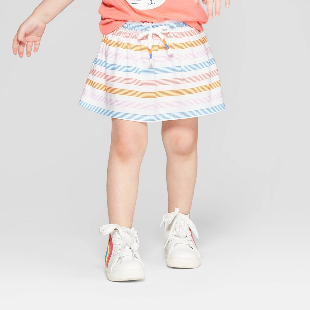 Toddler Girls' Striped Scooter - Cat & Jack White 12M