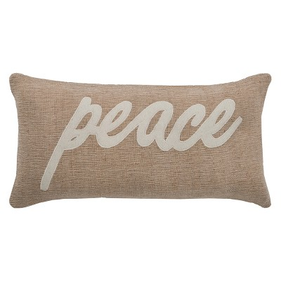 Peace World Throw Pillow Beige - Rizzy Home