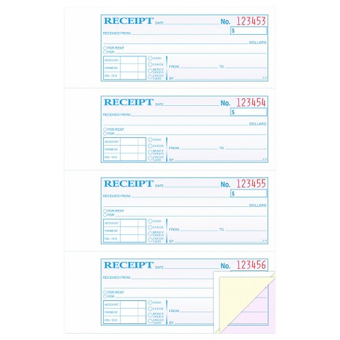 tops money rent receipt books 2 3 4 x 7 1 8 three part carbonless