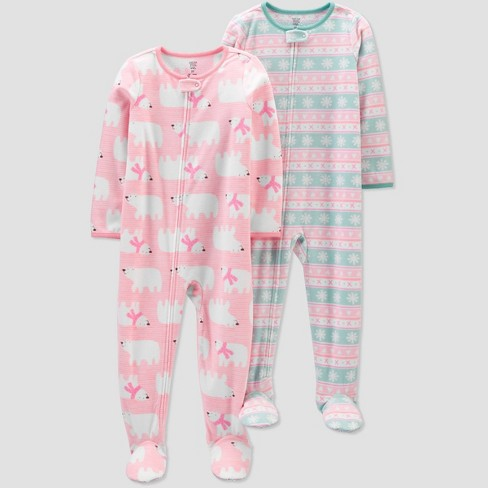 Toddler Girls' Polar Bear Fleece Footed Pajama - Just One You® made by carter's Pink - image 1 of 1