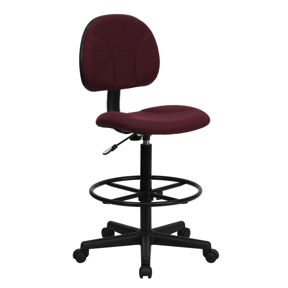 Ergonomic Drafting Chair Adjustable Burgundy (Red) Fabric - Flash Furniture