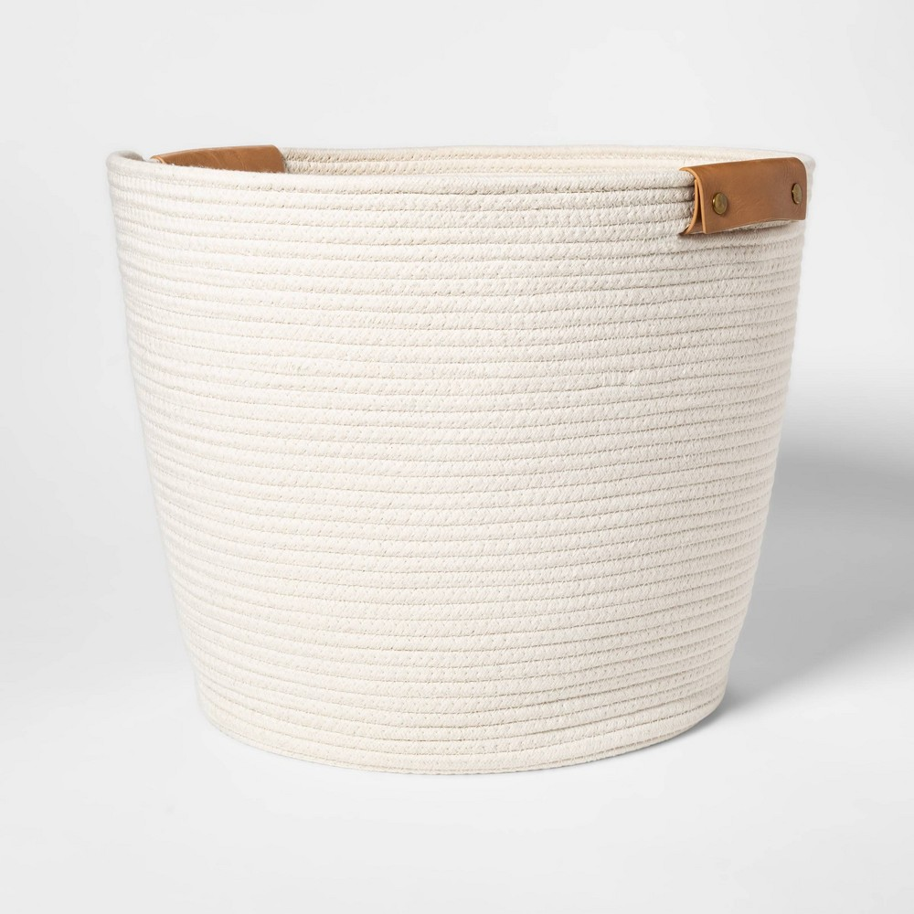 Image of Decorative Coiled Rope Floor Basket White - Threshold