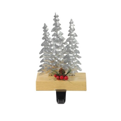 """Northlight 8.5"""" Silver and Red Wooden Christmas Trees Stocking Holder"""