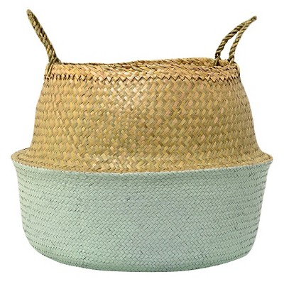 Seagrass Basket with Handles - Natural/Mint (19 )- 3R Studios