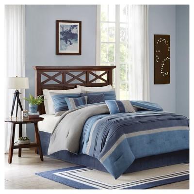 Comforter Set Queen 7pc Navy Colorblock- Rodgers®