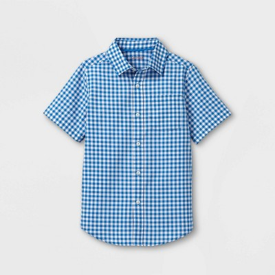 Boys' Woven Short Sleeve Button-Down Shirt - Cat & Jack™ Blue