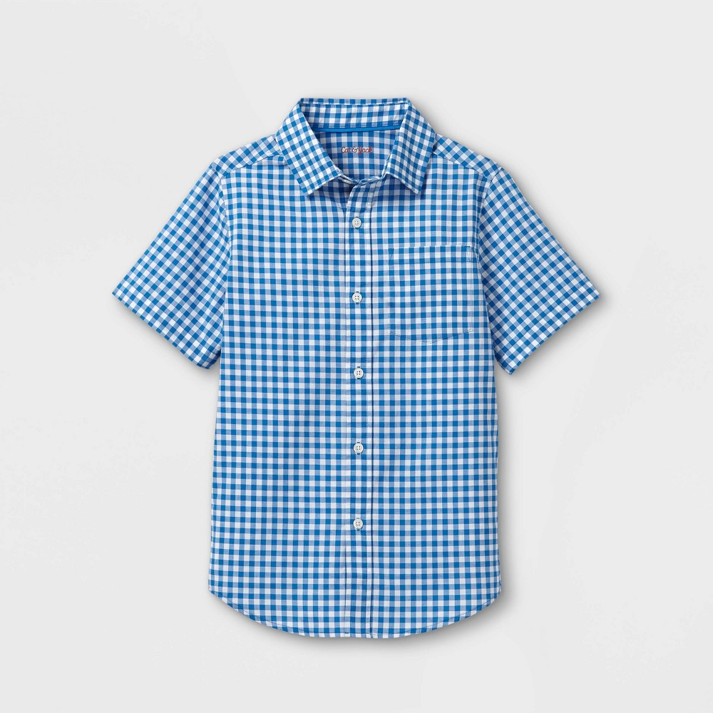 Boys 39 Woven Short Sleeve Button Down Shirt Cat 38 Jack 8482 Blue Xs