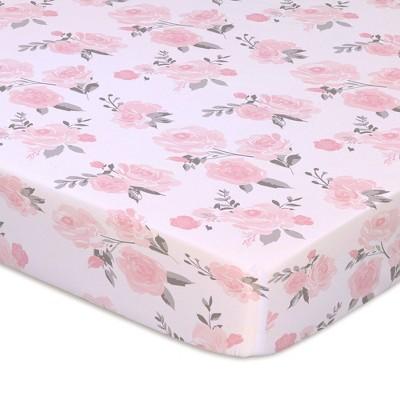 The Peanutshell Playard Sheets - Pink Roses/Floral 2pk