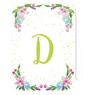 """D"" Monogram Floral Crest Note Cards Collections White"