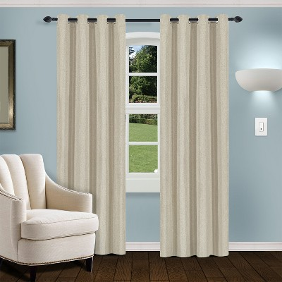 Thermal Insulated Linen Solid Blackout 2-Piece Curtain Panel Set with Stainless Grommet Header - Blue Nile Mills