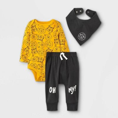 Baby Boys' 3pc 'Oh My! Lion' Top & Bottom Set with Bib - Cat & Jack™ Amber Yellow 3-6M