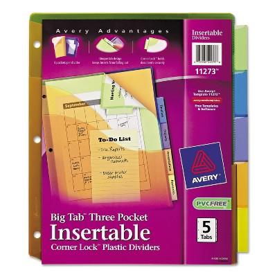 Avery Big Tab Plastic Dividers w/Three Pockets & Corner Lock 5-Tab 11 1/8 x 9 1/4 11273