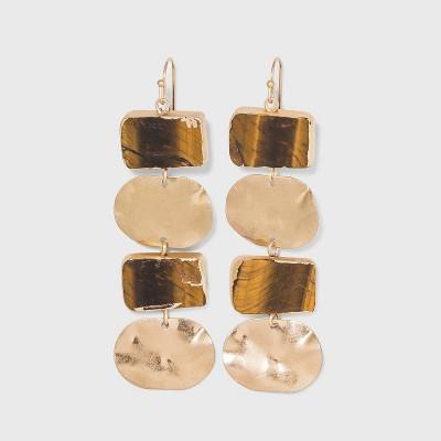 Semi-Precious Hammered Metal Discs Statement Earrings - Universal Thread™