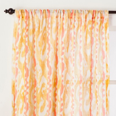 Ikat Sheer Curtain Panel Amber Yellow 84  - Opalhouse™