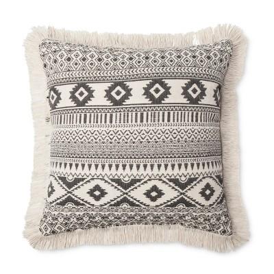 Cream Dyed Yarn Geo Fringe Throw Pillow (18 x18 )- Room Essentials™