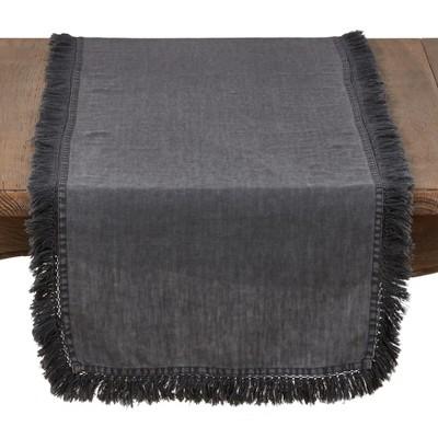 72 x16  Linen Stonewashed Fringe Table Runner Gray - Saro Lifestyle