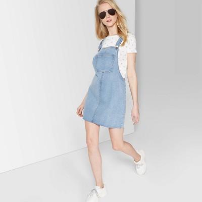 f2f27839739 Women s Sleeveless Denim Pinafore Mini Dress - Wild Fable™ Medium Wash