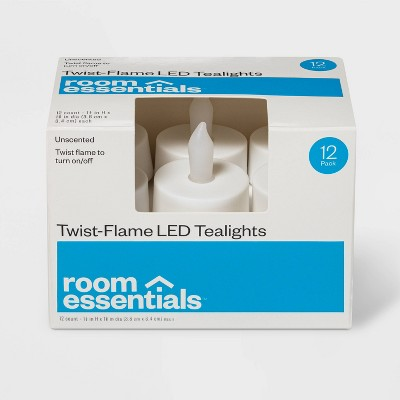 12ct Twist-Flame LED Tealight Candles (White) - Room Essentials™