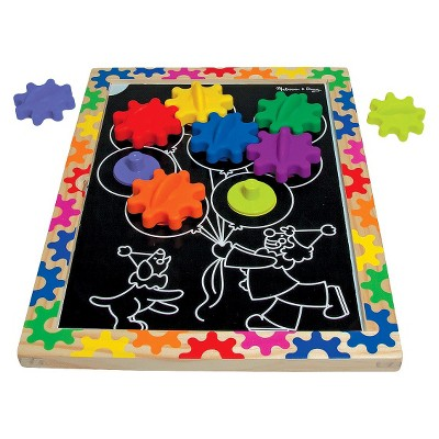 Melissa & Doug® Switch and Spin Magnetic Gear Board - Educational Toy With 8 Gears and 5 Double-Sided Designs Board Game