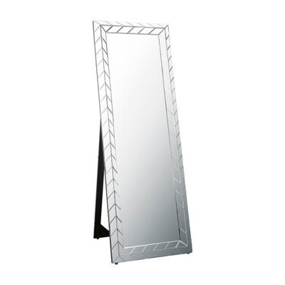 "63"" Teresa Chevron Standing Floor Mirror Silver - Abbyson Living"