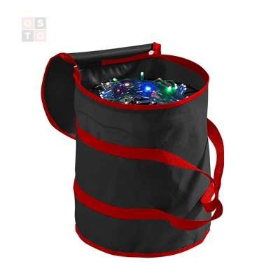 OSTO Christmas Light Reels Storage with Bag, 600D Polyester Fabric Bag, Stitch-enforced Handles, and 3 Metal Reels. Tear Proof and Waterproof
