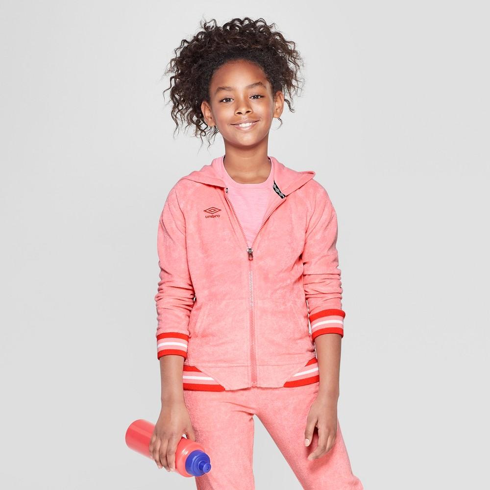 Umbro Girls' Terry Full Zip Hoodie - Geranium Pink XS