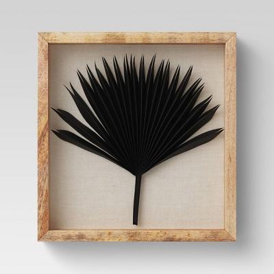 Dried Natural Palm Leaf Shadow Box Black - Threshold™