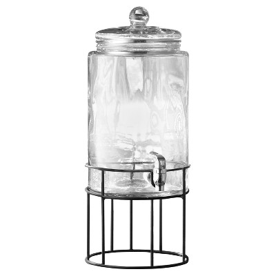 Style Setter® Artesia 250oz Glass Beverage Dispenser with Metal Stand