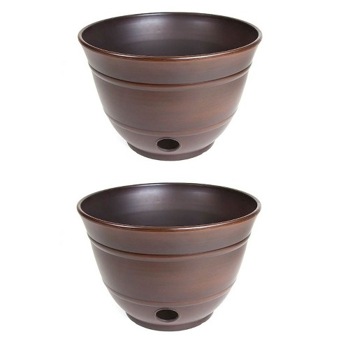 Liberty Garden Banded High Density Resin Hose Holder Pot with Drainage (2 Pack) - image 1 of 4