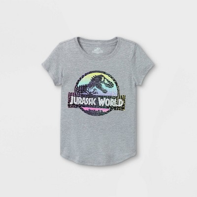 Girls' Jurassic World Short Sleeve Graphic T-Shirt - Heather Gray