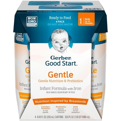 Gerber Good Start Gentle Non-GMO Ready to Feed Infant Formula, Stage 1, 8.45 fl oz, 4ct