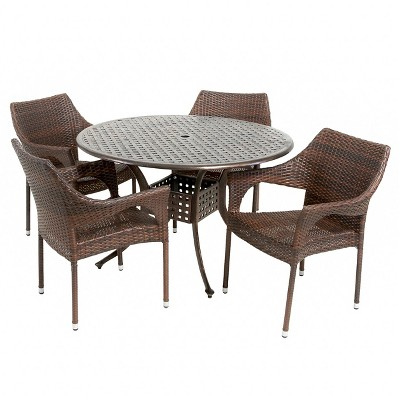 Cliff 5pc Wicker and Cast Aluminum Patio Dining Set - Bronze/Brown - Christopher Knight Home