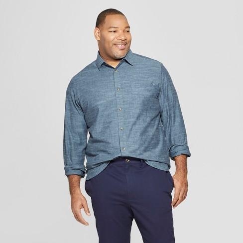 Men's Big & Tall Long Sleeve Cotton Slub Button-Down Shirt - Goodfellow & Co™ Blue - image 1 of 3