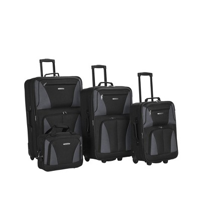 Rockland Journey 4pc Luggage Set - Black/Gray