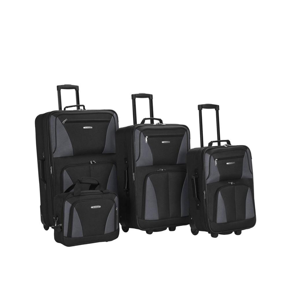 Rockland Journey 4pc Luggage Set Black Gray