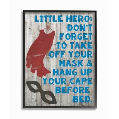 "Little Hero Before Bed Oversized Framed Giclee Texturized Art (16""x20""x1.5) - Stupell Industries"