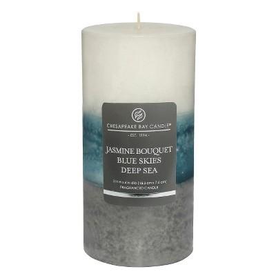 Layered Pillar Candle Jasmine/Blue Skies/Deep Sea 6 x3  - Chesapeake Bay Candle®