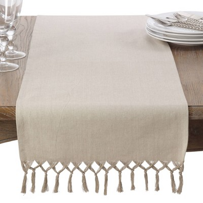 Cotton Knotted Tassel Table Runner Light Brown - Saro Lifestyle