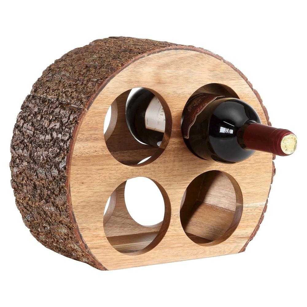 Danya B Round Four Bottle Wine Holder Acacia Wood with Bark, Brown