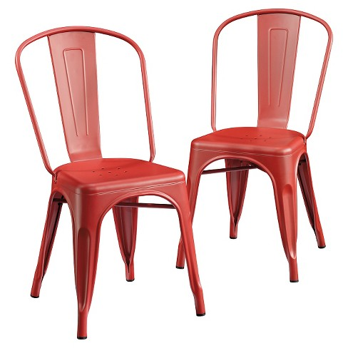 Pleasant Metal Cafe Dining Chair Set Of 2 Matte Red Sauder Evergreenethics Interior Chair Design Evergreenethicsorg