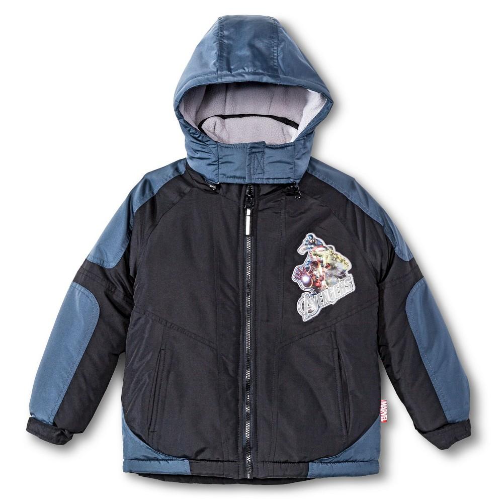 Boys' Avengers Puffer Jacket Black 5-6