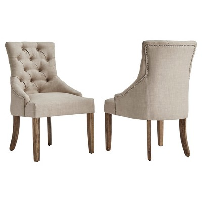 Lawler Button Tufted Dining Chair (Set Of 2)- Oatmeal - Inspire Q